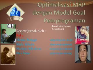 Optimalisasi  MRP  dengan M odel �Goal  P em p rograman