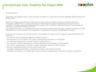 Istruzioni  per  l'uso  - Tosatrice Pet  Clipper 9000
