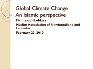 Global Climate Change An Islamic perspective