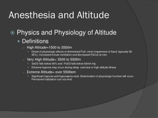 Anesthesia and Altitude