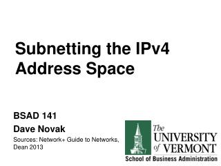 Subnetting  the IPv4 Address Space