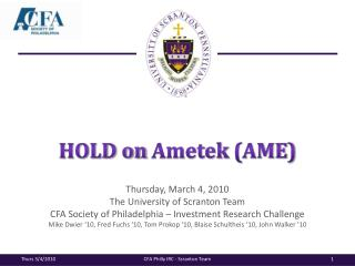 HOLD on  Ametek  (AME)