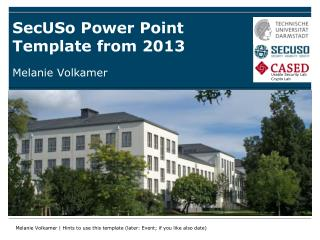 SecUSo  Power Point Template from 2013