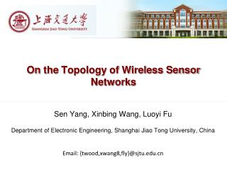 On  the  Topology of Wireless Sensor  Networks