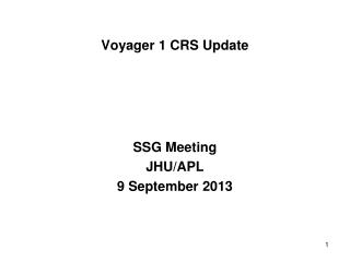Voyager 1 CRS Update