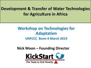 Workshop on Technologies for Adaptation UNFCCC  Bonn 4 March 2014