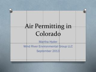 Air Permitting in Colorado