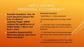 Unit 5, Lesson 6 Presidential Accountability