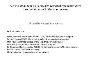 On the small range of annually averaged net community production rates in the open ocean