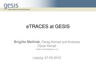 eTRACES  at GESIS