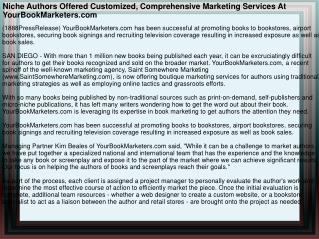 Niche Authors Offered Customized, Comprehensive Marketing Se
