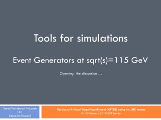 Tools for simulations