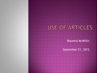 Use of Articles