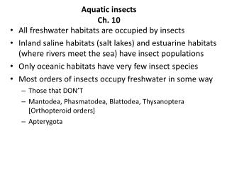 Aquatic insects Ch. 10