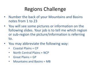 Regions  Challenge