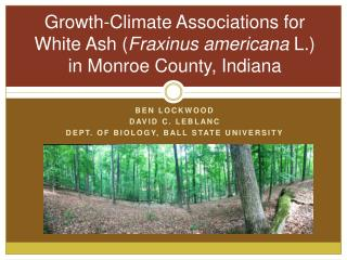 Growth-Climate Associations for White Ash ( Fraxinus americana  L.) in Monroe County, Indiana
