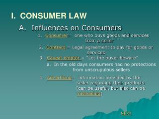I.  CONSUMER LAW