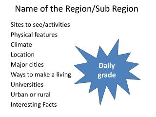 Name of the Region/Sub Region