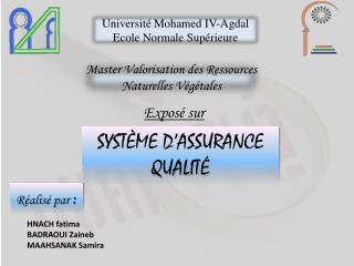 Université Mohamed IV- Agdal Ecole Normale Supérieure