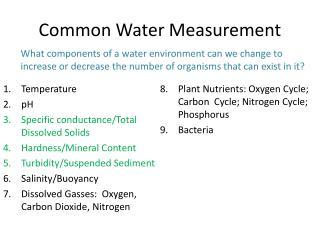 Common Water Measurement