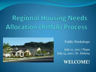 Regional Housing Needs Allocation (RHNA) Process