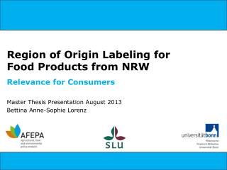 Region of Origin  Labeling  for Food Products from NRW