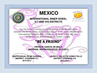 INTERNATIONAL INNER WHEEL 417 AND 418 DISTRICTS