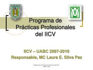 Programa de  Pr á cticas Profesionales  del IICV