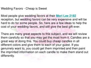 Wedding Favors - Cheap is Sweet