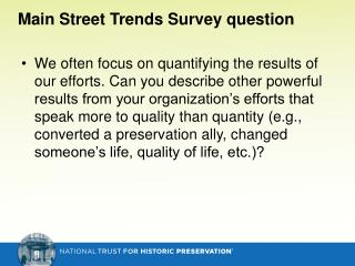 Main Street Trends Survey question