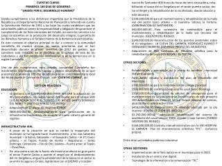 """CUENTAS CLARAS PRIMEROS 180 DIAS DE GOBIERNO """"UNIDOS POR EL DESARROLLO HUMANO"""""""
