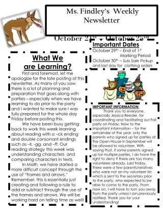 Ms.  Findley's  Weekly   Newsletter October 21 st – October 25 th