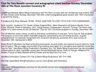 Toys for Tots Benefit concert and autographed silent auction