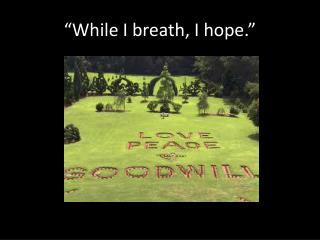 """""""While I breath, I hope."""""""