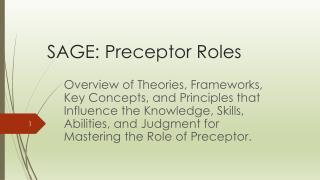 SAGE: Preceptor Roles