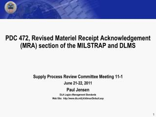 PDC 472, Revised Materiel Receipt Acknowledgement (MRA) section of the MILSTRAP and DLMS