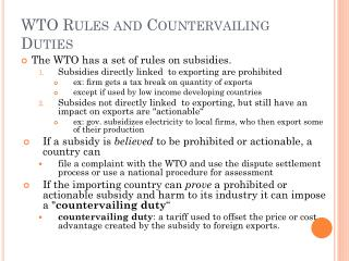 WTO Rules and Countervailing Duties