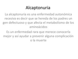 A lcaptonuria