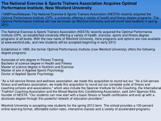 The National Exercise & Sports Trainers Association Acquires