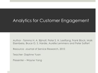 Analytics  for Customer Engagement