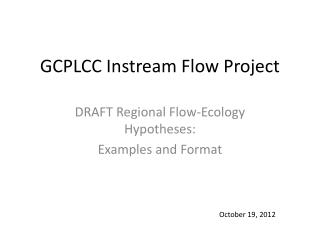 GCPLCC Instream Flow Project
