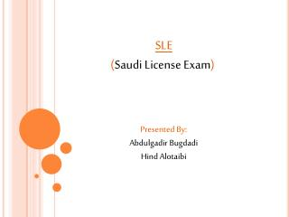 SLE ( Saudi License Exam )