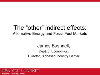 "The ""other"" indirect effects: Alternative Energy and Fossil Fuel Markets"