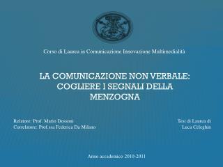 Corso di Laurea in Comunicazione Innovazione Multimedialità
