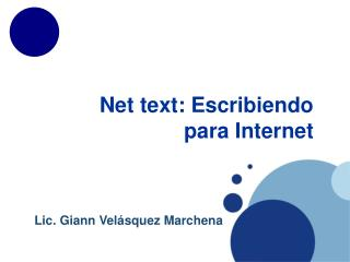 Net text:  Escribiendo para  Internet