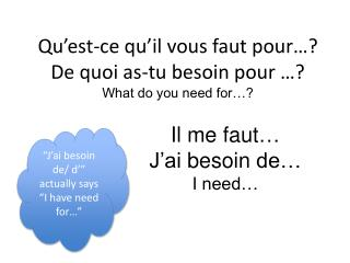 Qu'est-ce qu'il vous faut  pour… ? De  quoi as- tu besoin  pour …? What do you need for…?
