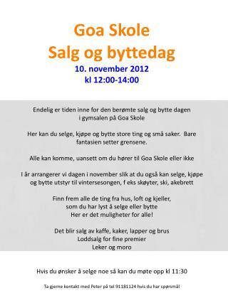 Salg og byttedag 10 nov 2012