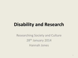 Disability and Research