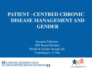 Patient  –centred chronic disease  management and gender