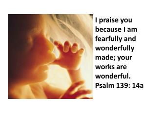 I praise you because I am fearfully and wonderfully made; your works are wonderful. Psalm 139: 14a